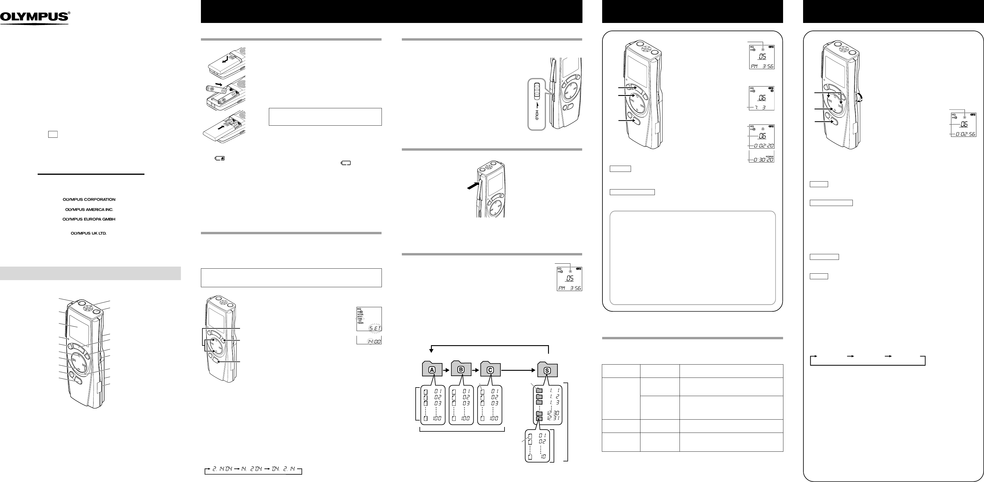 User manual Olympus VN-240 (2 pages)