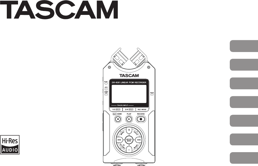 User manual Tascam DR-40X (112 pages)