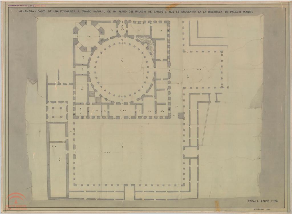 El palacio de Carlos V en la Alhambra, Manu Barba. Calco de fotografía de uno de los primeros planos existentes del proyecto de palacio para Carlos V