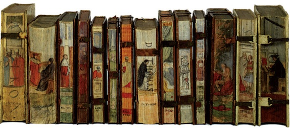 Biblioteca de Cesare Vecellio pintada por Tiziano. Bibliotecas al revés. Manu Barba. ©theparisreview.org