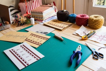 "Craft table- working on ""Nowhere memories""collection"