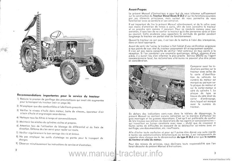 Manuel instructions DEUTZ D25