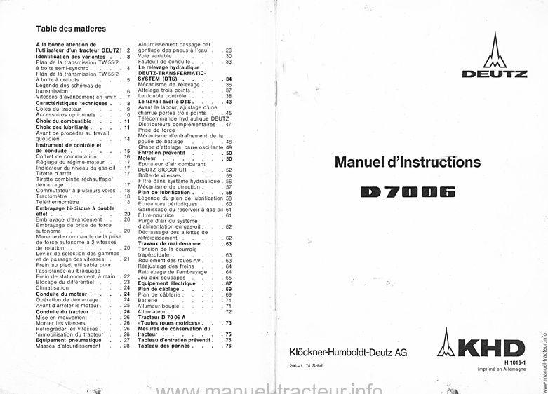 Manuel Instruction DEUTZ D 7006