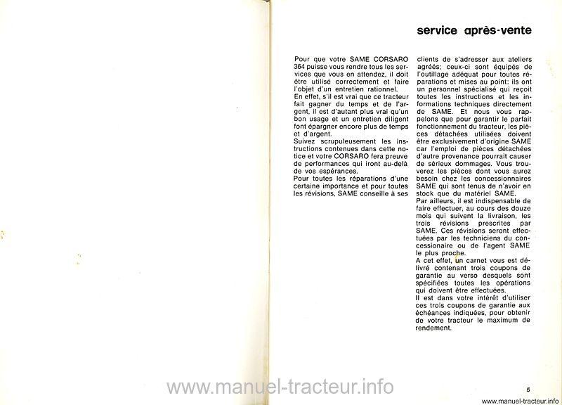 Notice entretien Same Corsaro 364