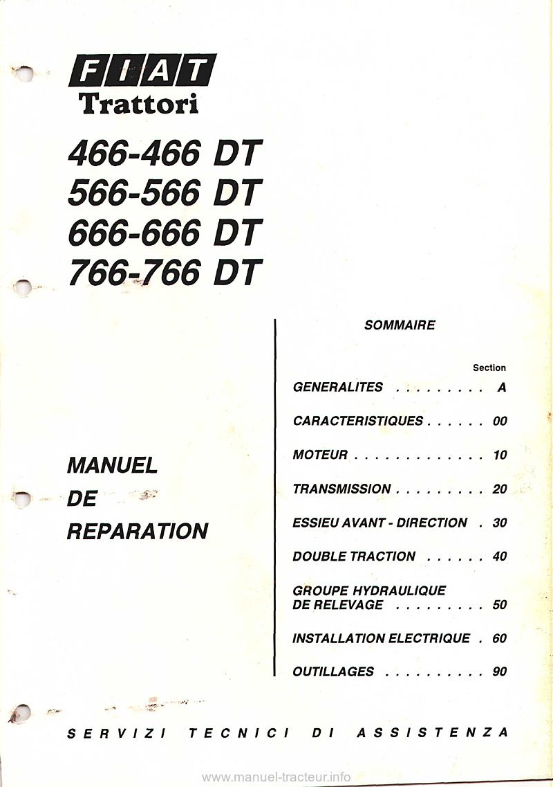 Manuel réparation Fiat 466 566 666 766 DT