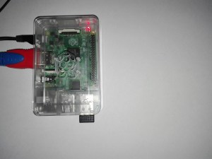 Raspberry Pi con todos los cables necesarios conectados en sus puertos correspondientes sin cable Ethernet