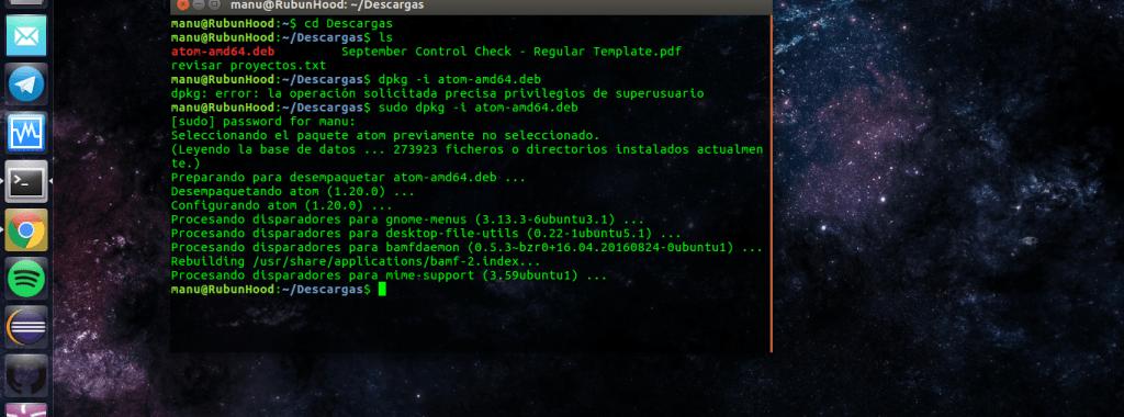 Instalar un paquete DEB desde terminal en Ubuntu