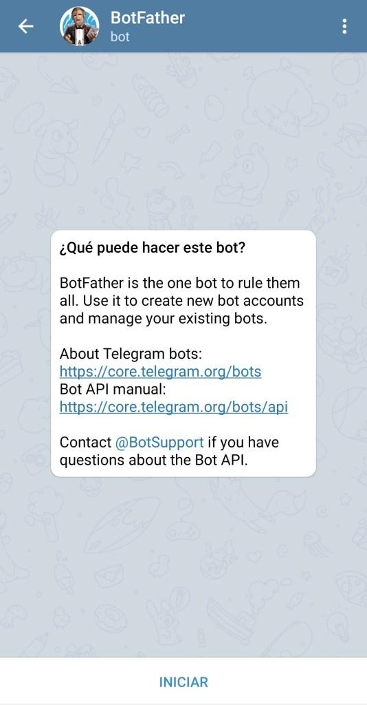 Conversación con BotFather