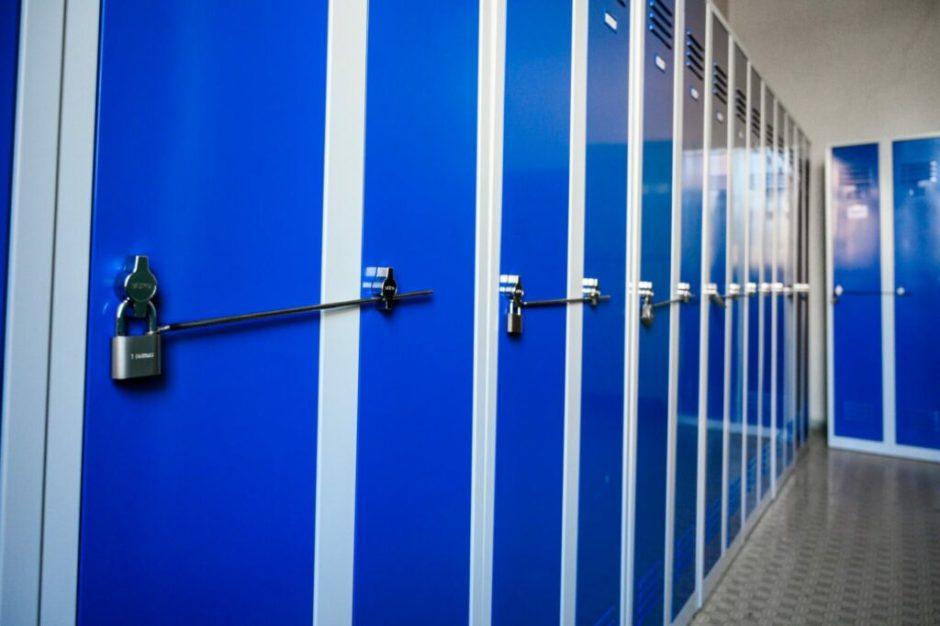 Modré šatní skříňky Duro Vario s visacími zámky