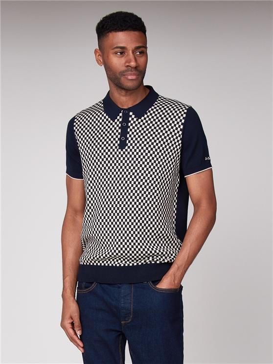 Ben Sherman - Nav & White Checkered Knitted Polo