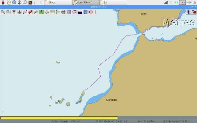 Trace GPS de notre route vers les îles Canaries depuis Gibraltar.