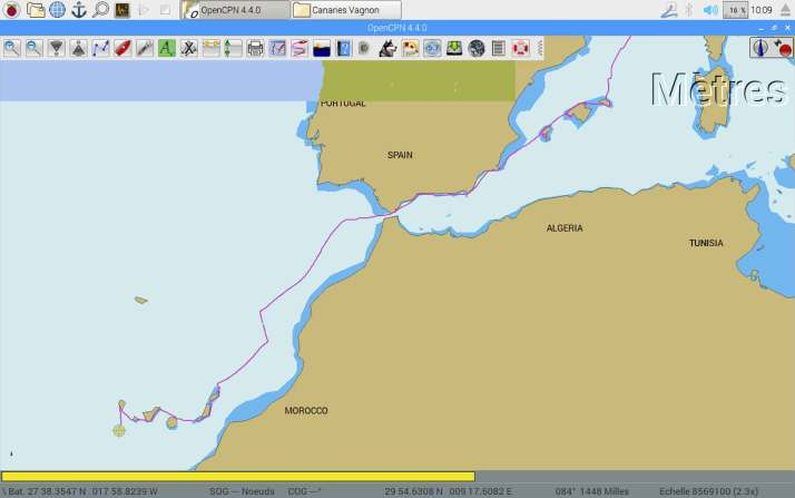 Trace GPS de notre route entre Toulon et les îles Canaries.