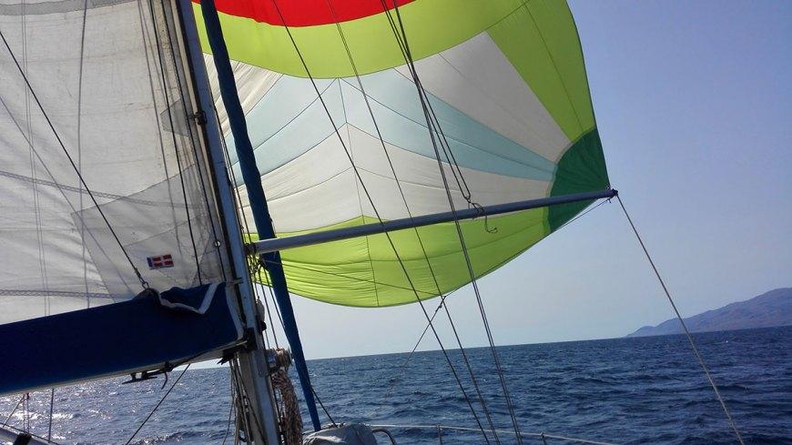 Navigation sous spi lors de notre traversée de l'Atlantique.