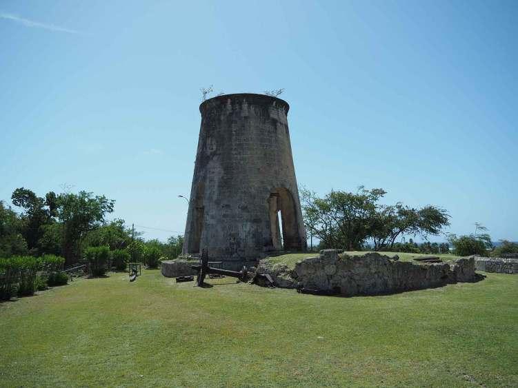 L'ancien moulin à vent de l'habitation Murat à Marie-Galante.