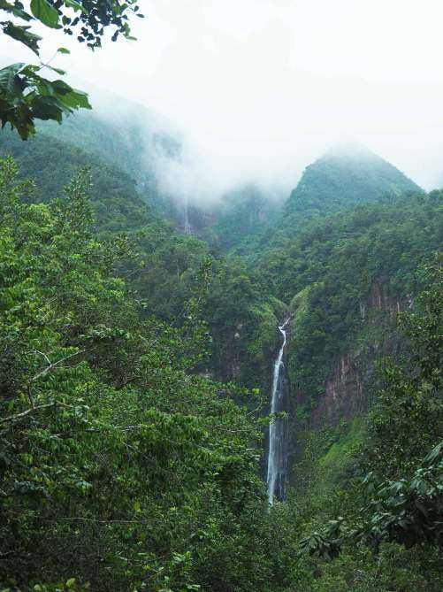 Point de vue sur la 1ère et la 2ème chutes du Carbet en Guadeloupe.