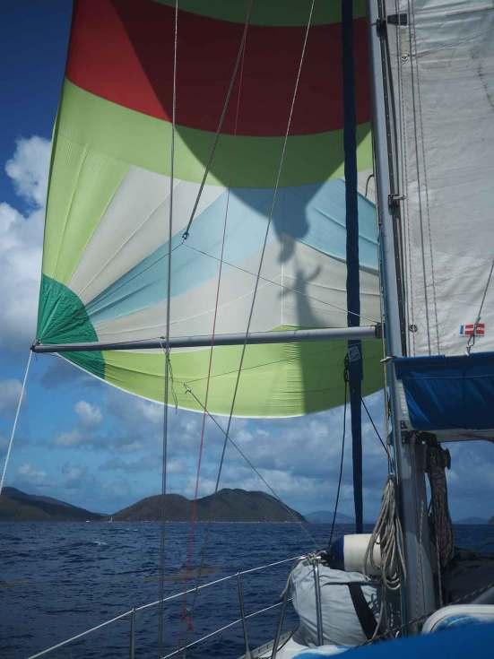 Spi lancé sur notre navigation entre les Bahamas et les BVI.