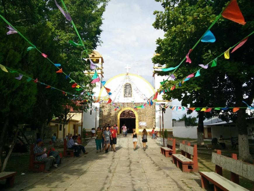 Eglise de la place principale de Palenque, au Mexique.