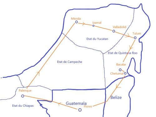 Notre trajet à travers le Mexique (Yucatan) depuis le Guatemala.