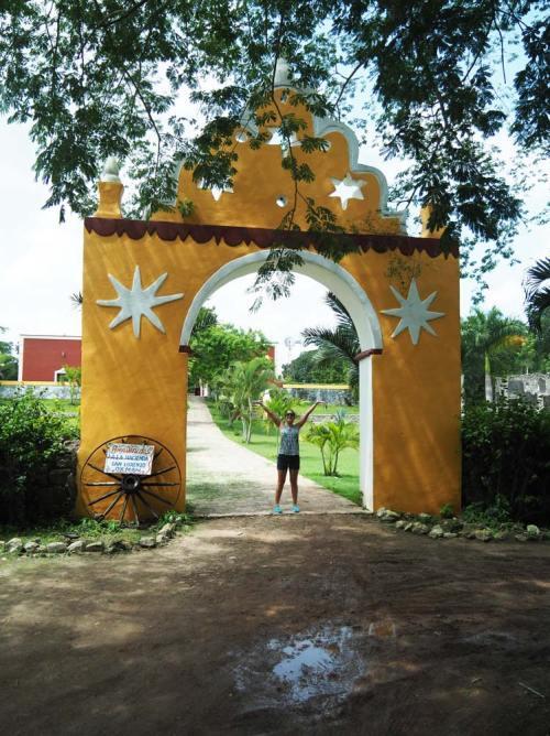 Le magnifique portail de l'entrée de l'hacienda San Lorenzo Oxman.