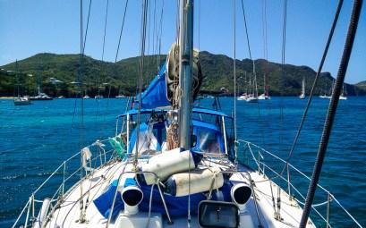 Notre bateau au mouillage aux Grenadines, à Béquia.