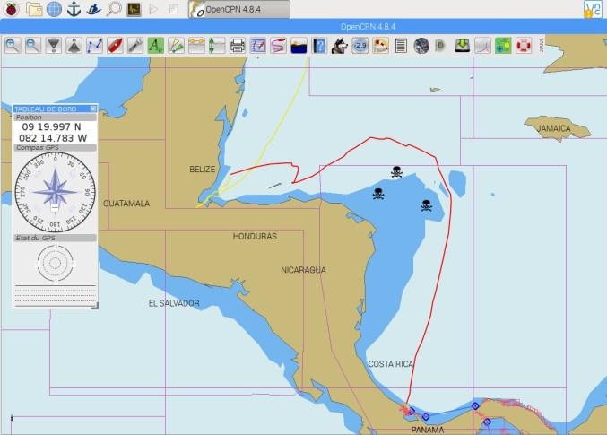 Carte de notre trajet à la voile entre le Guatemala et le Panama.