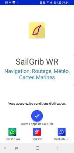Application Sailgrib pour télécharger les gribs, et faire des simulation de routage.