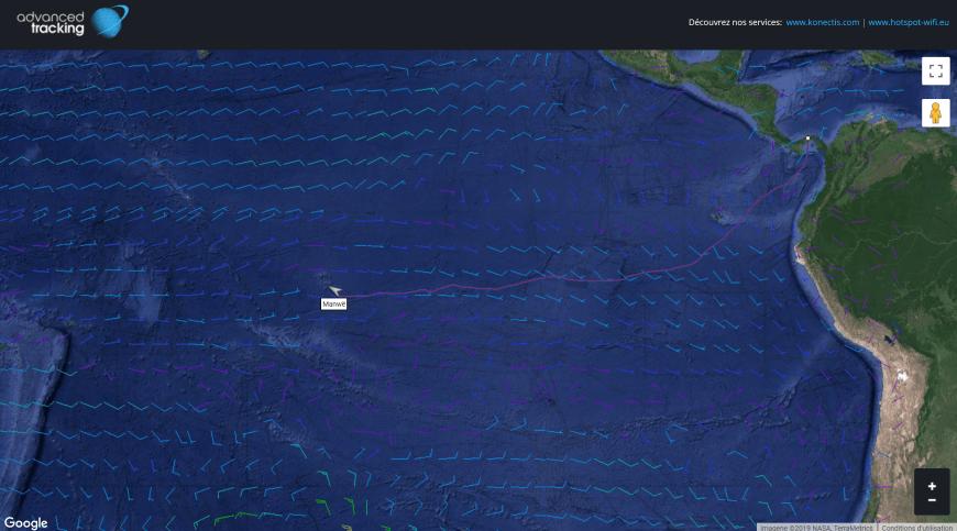 Notre trace sur le site konectis grâce au tracking iridium