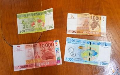 Le franc pacifique, la monnaie officielle de la Polynésie française.