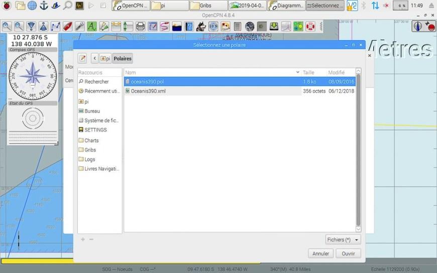 Gestion des fichiers polaire pour le routage sous OpenCPN