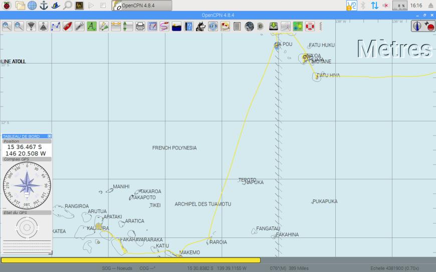Trace de navigation entre Ua Pou et Raroia.