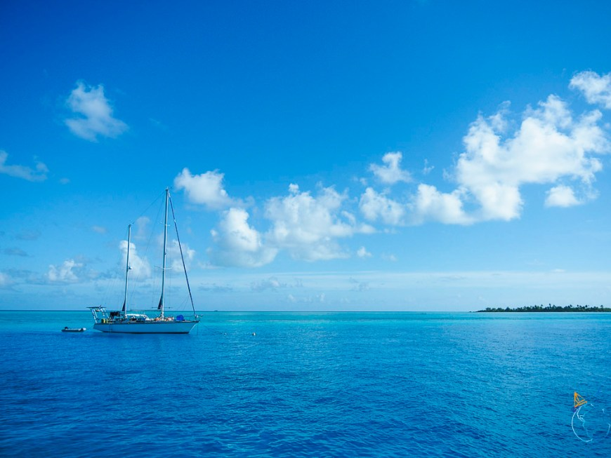 Le voilier Trilogy au mouillage dans l'Anse Amyot sur Toau.