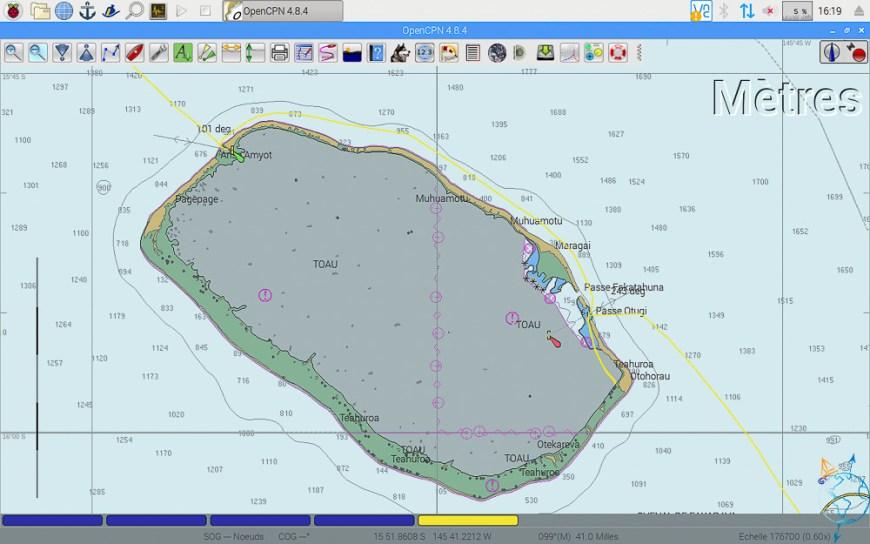 Carte OpenCPN de nos routes de navigation dans l'atoll de Toau.
