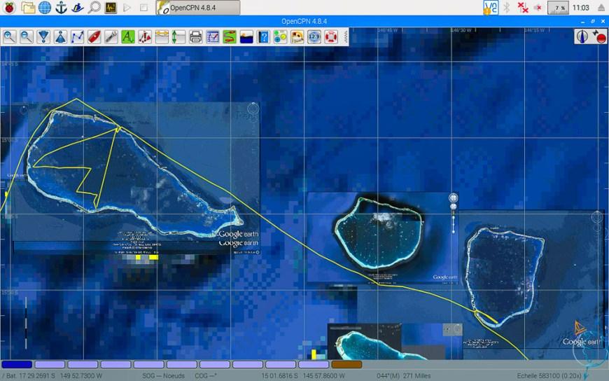 Vue satellite de notre navigation entre Apataki et Rangiroa.