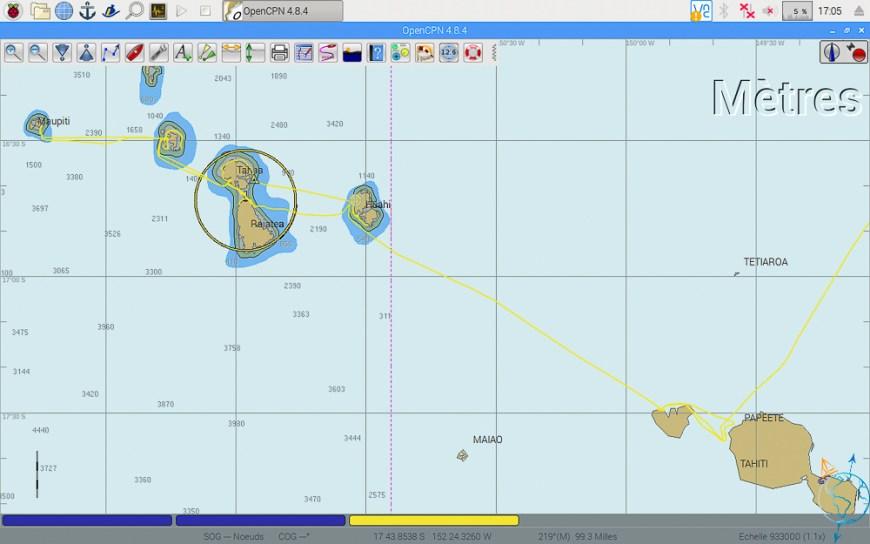 Vue OpenCPN de l'archipel de la Société, avec nos traces de navigation.