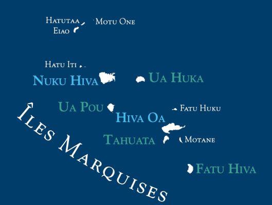 Carte de l'archipel des îles Marquises.