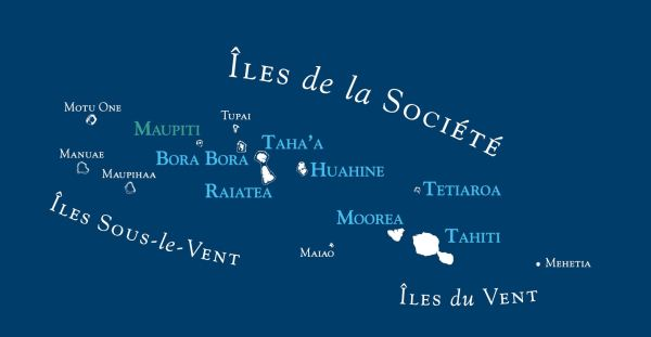 Carte des îles de la Société en Polynésie française.