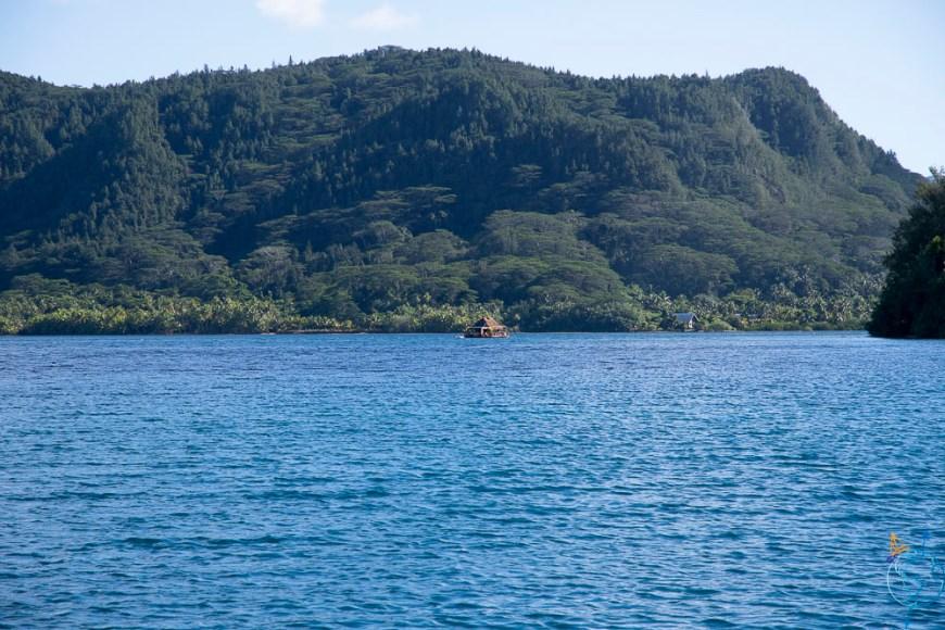 La baie de Port Bourayne avec ses pins sur les hauteurs, sur l'île de Huahine.