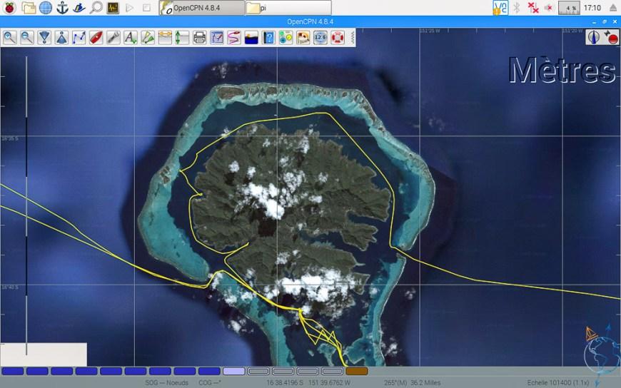 Vue satellite de l'île de Taha'a.