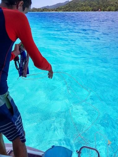 Derouler ses lignes dans l'eau à l'arrière du bateau