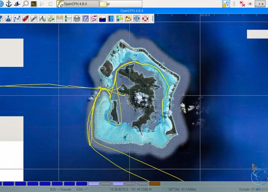 Vue satellite de l'île de Bora Bora, avec notre trace.