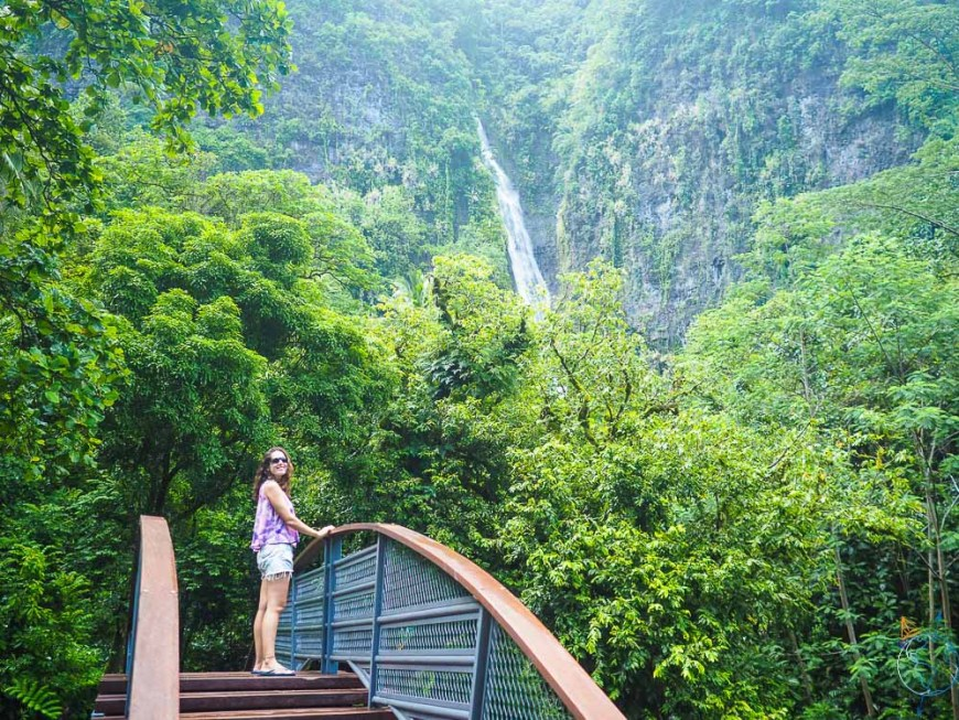 Pont et première cascade de Faarumai en arrière-plan.