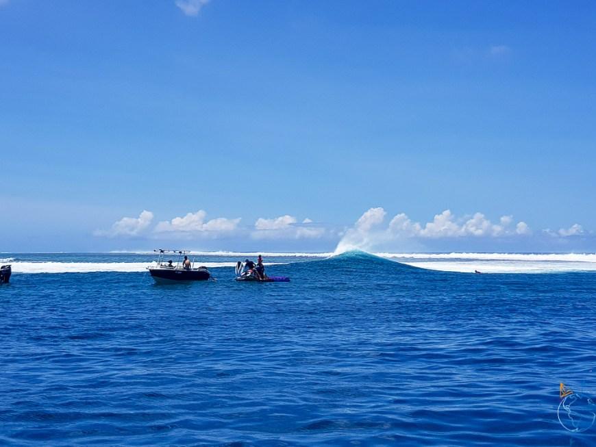 Vagues idéales pour surfer dans la passe d'Haapiti, sur l'île de Moorea.