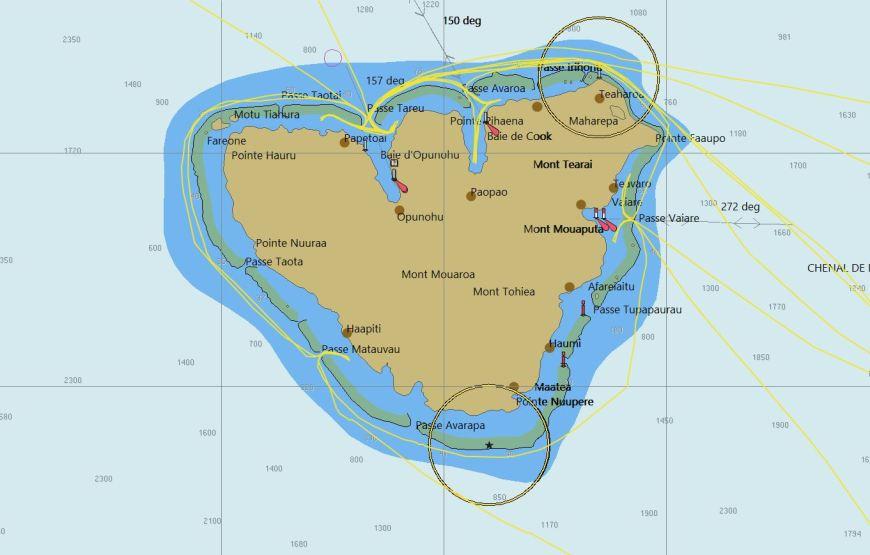 Nos traces autour de l'île de Moorea sur la cartographie OpenCPN.