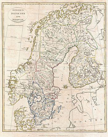 1799 Clement Cruttwell Map of Sweden, Denmark ...