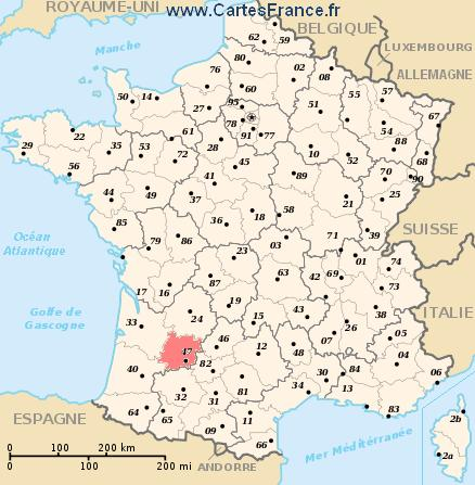 LOTETGARONNE  map cities and data of the departement of LotetGaronne 47