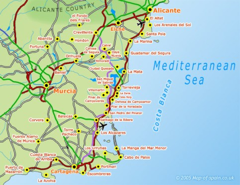 Map of the South Costa Blanca