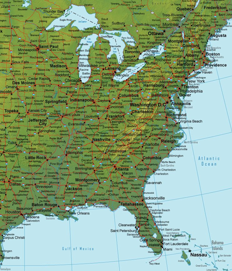 Or wa mt id wy sd nd mn ia ne co ut nv ca az nm tx ok ks mo il wi in oh mi pa ny ky ar la ms al ga fl sc nc va wv tn me vt nh ma. Online Map Of Eastern Usa Terrain Detail