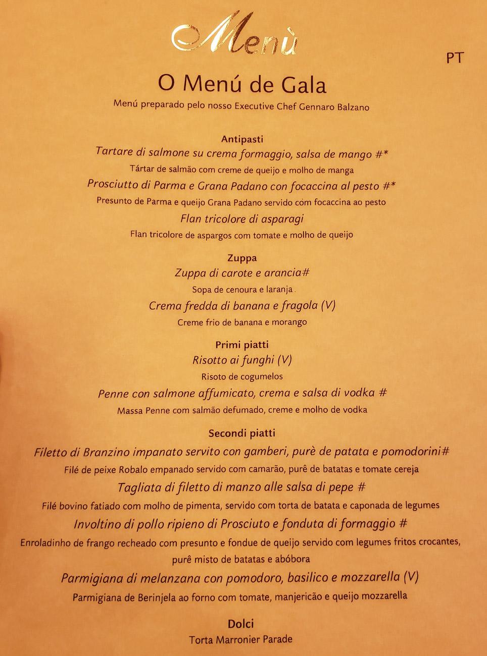 Menu Jantar de Gala no cruzeiro Costa Favolosa