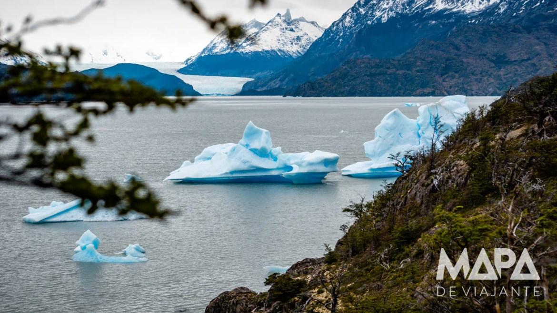 Icebergs desprendidos do Glaciar Grey
