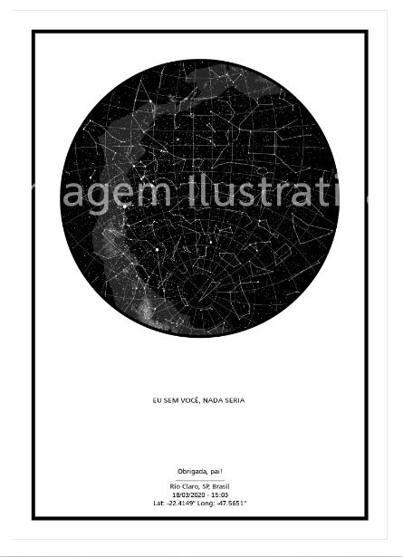 imagem do poster preto e branco do mapa do meu céu personalizado com frase de gratidão